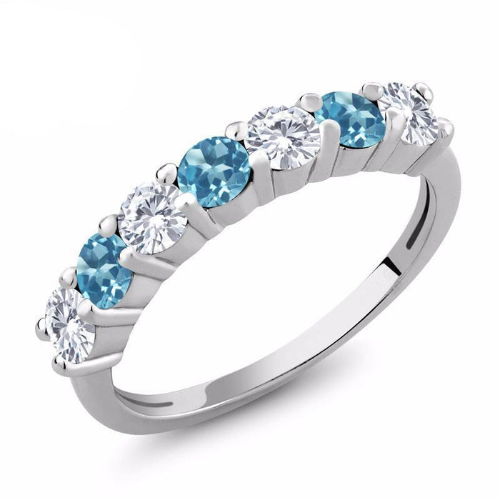 Blue Topaz Moissanite Ring