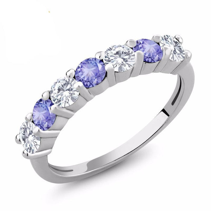 Round Blue Tanzanite Moissanite Ring