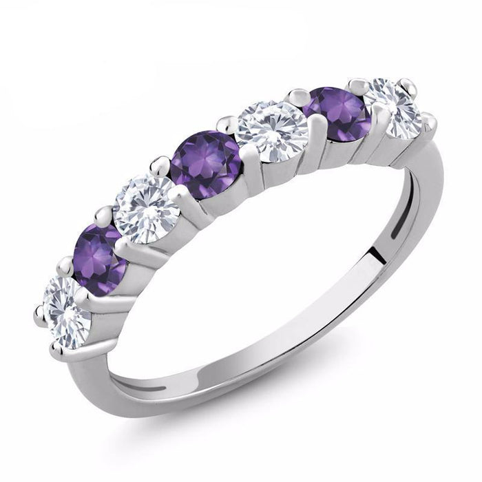 Purple Amethyst Moissanite Ring