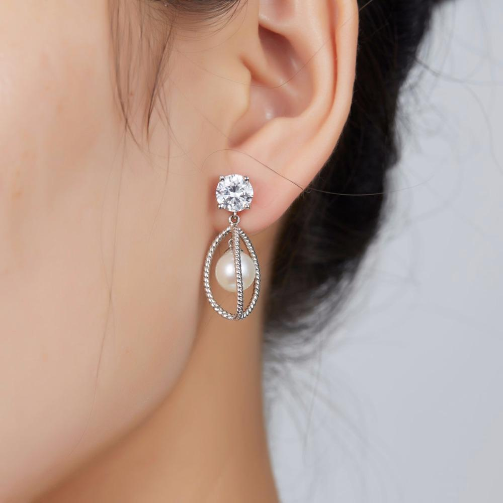Clarette White Pearl & CZ Drop Earring