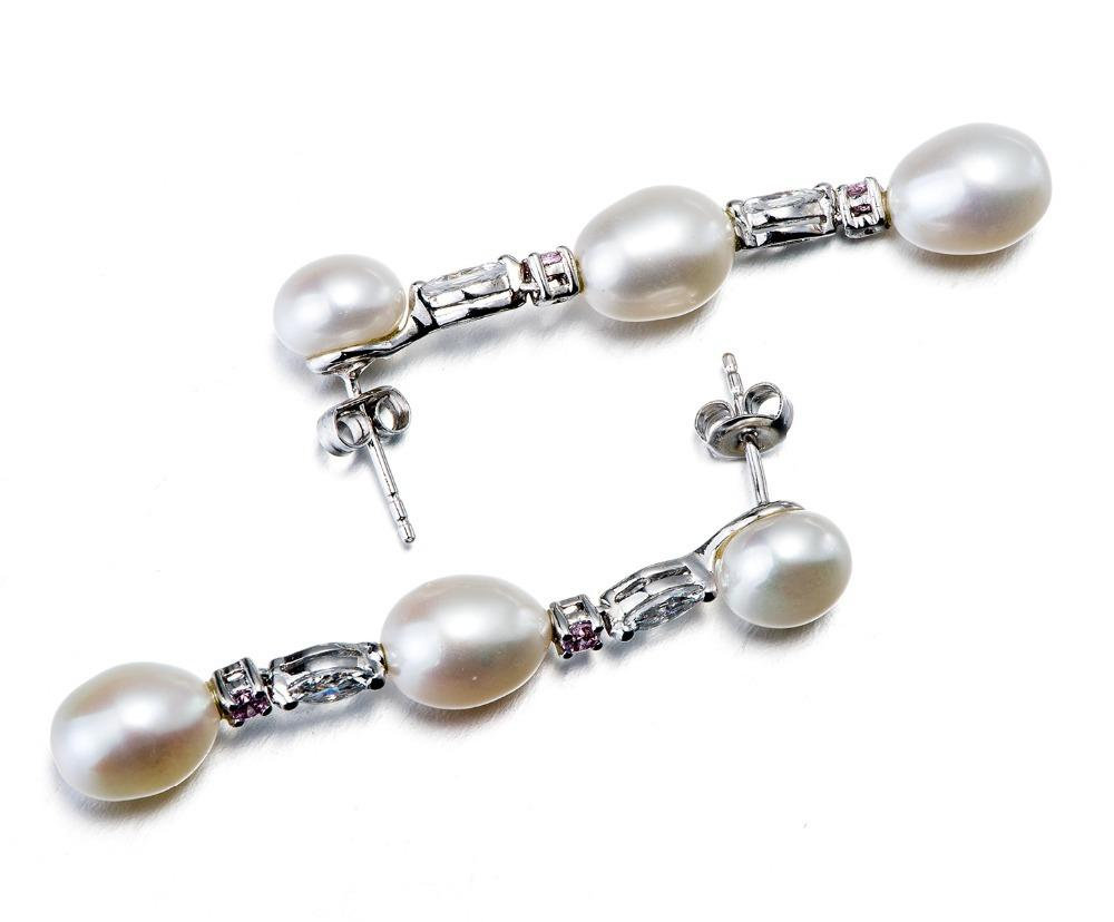 Clarita White Pearl & CZ Drop Earring