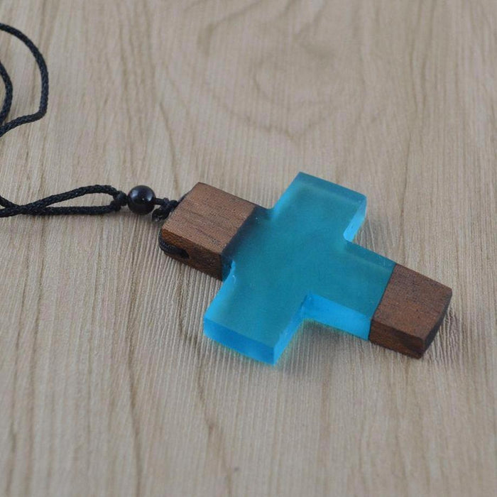 Mystery Cross Wood Resin Necklace [3 Colour Options]