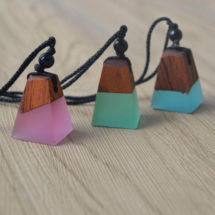 Geometric Wood Resin Necklace [3 Colour Options]