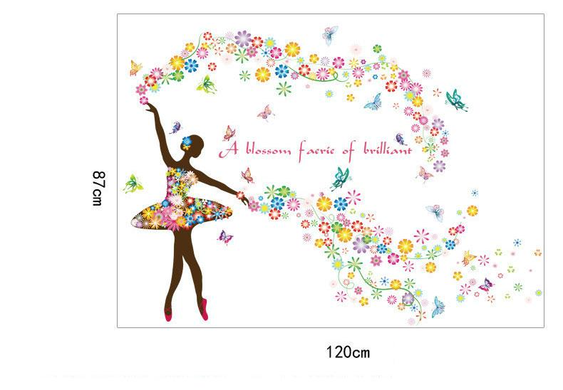 Flower Fairy Dancing Girl Window Wall Stickers