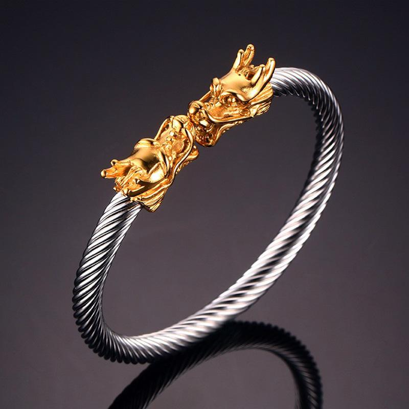 Dragon Head Cuff Stainless Steel Bracelet for Men