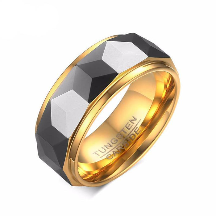 Polished Facet Cut Prism Tungsten Carbide Ring