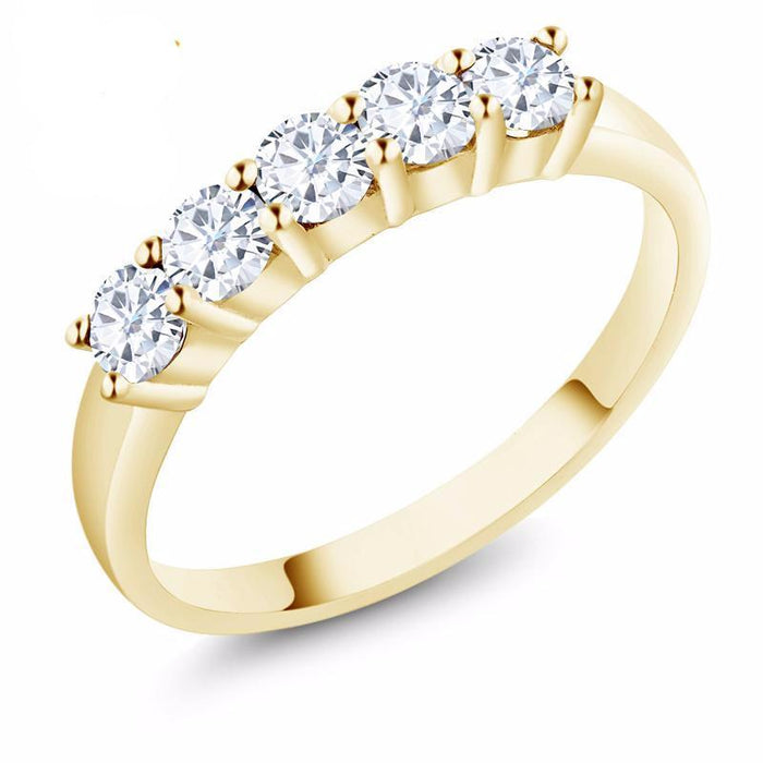 Yellow Gold Round Moissanite Ring