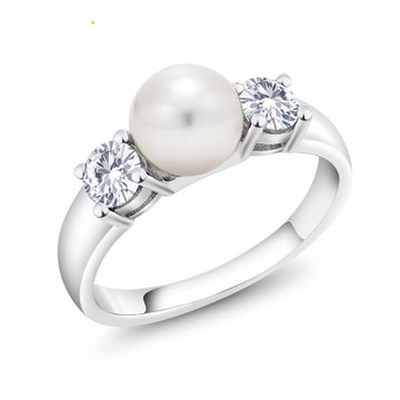 Three-stone White Pearl Created Moissanite Ring