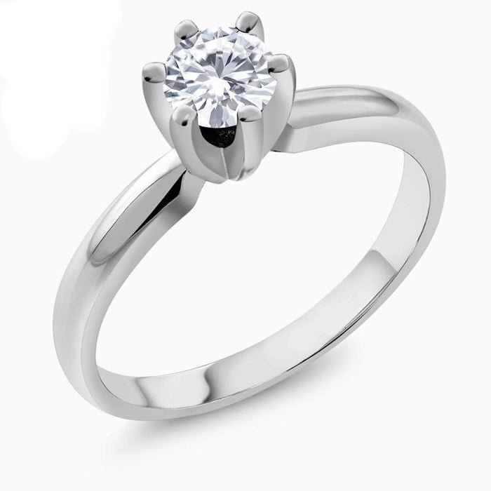 Round White Created Moissanite Ring