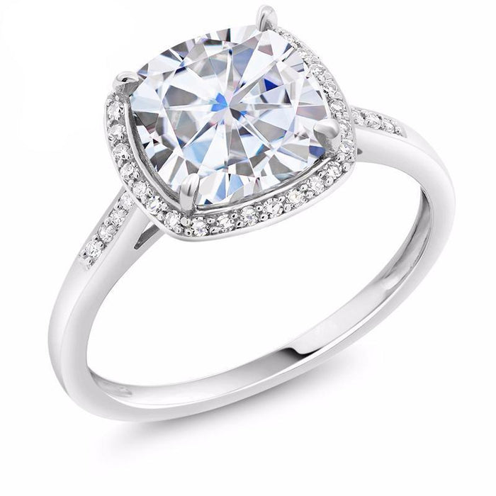 Cushion Created Moissanite with Accent Diamonds
