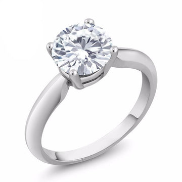 Round Created Moissanite Engagement Ring