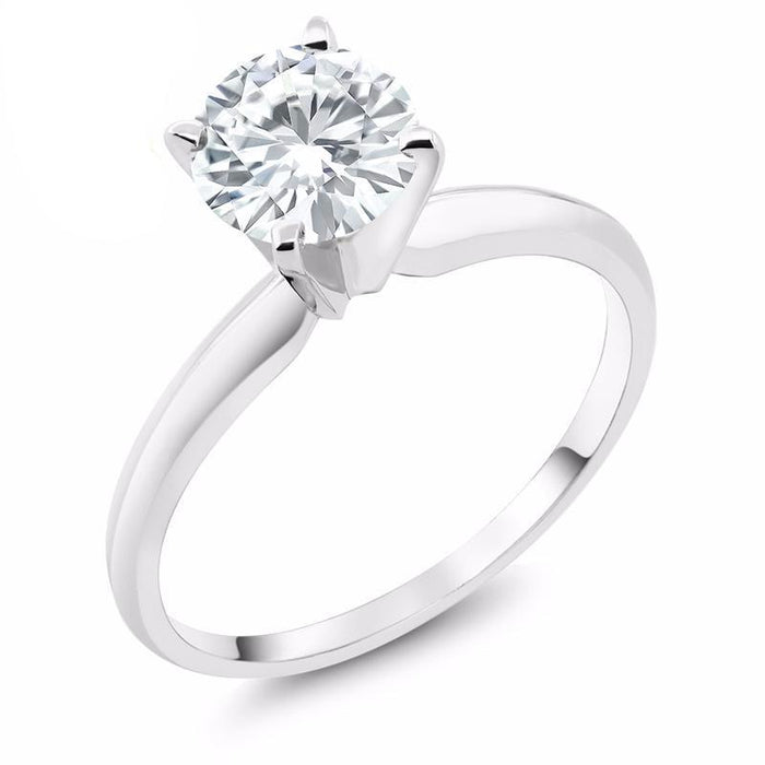 Forever One Round Moissanite Solitaire Ring