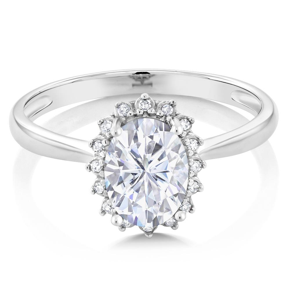 Created Moissanite Engagement Ring with Diamonds