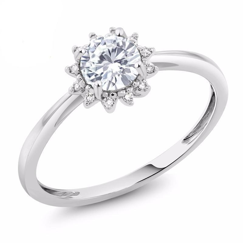 Round White Moissanite Diamond Ring