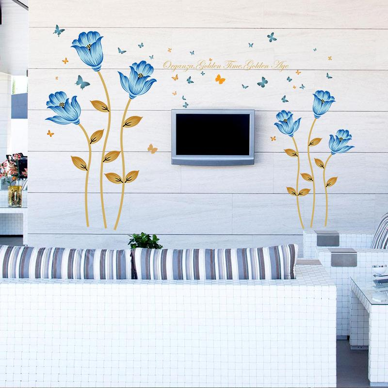 Romantic Blue Flowers Wall Stickers