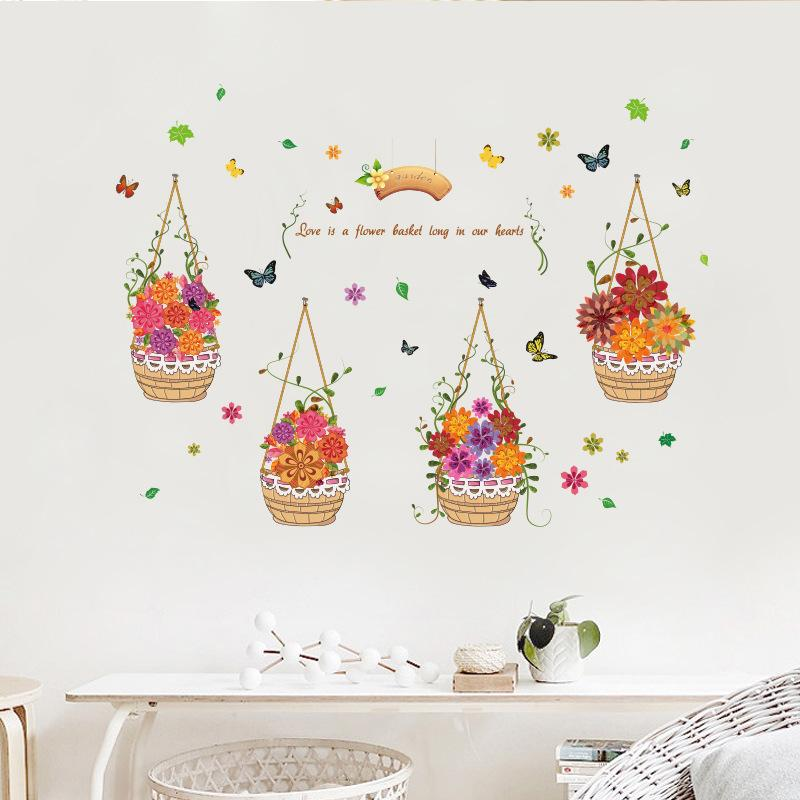 Hand Painted Baskets Flower Wall Stickers