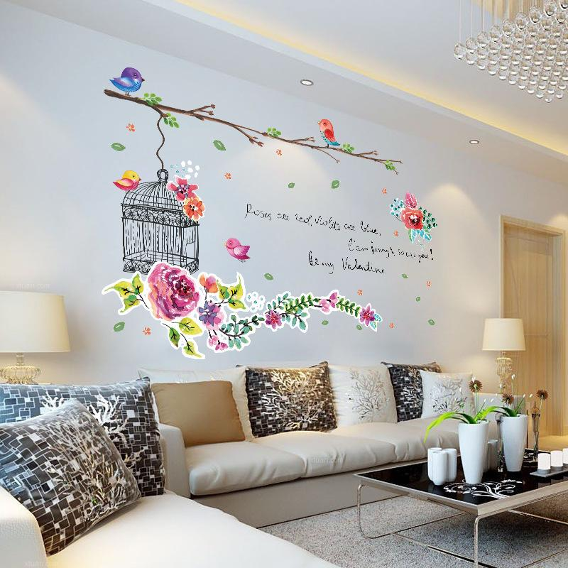 Flower Birdcage Bedroom Wall Stickers