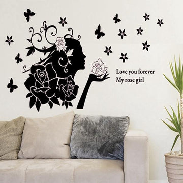 Rose Girl Wall Stickers