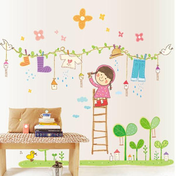Hanging Clothes Wall Stickers