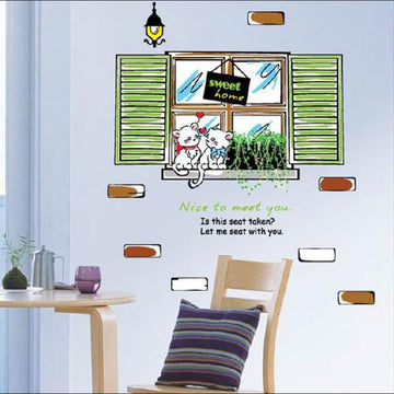 Sweet Cats on the Window Wall Stickers