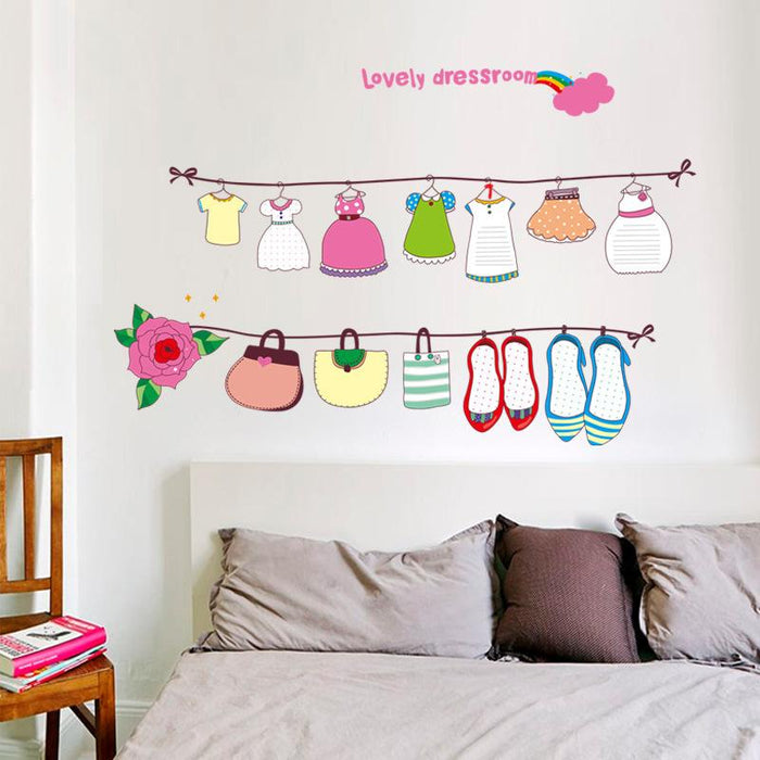 Hanging Clothes Cartoon Wall Stickers