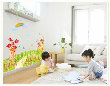 Green Grass Castle Adornment Wall Stickers