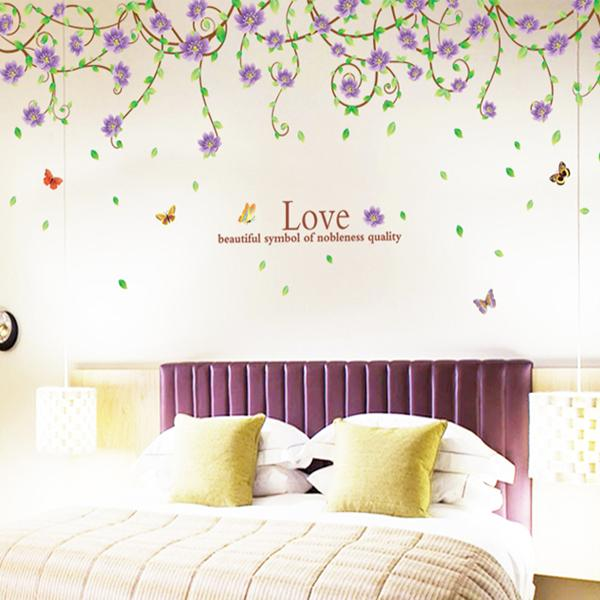 Purple Flowers Cane Wall Stickers