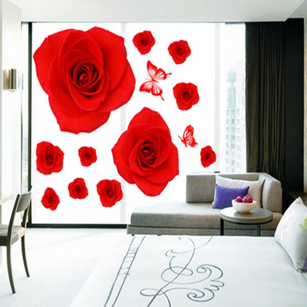 Romantic & Warm Bedroom Rose Wall Stickers