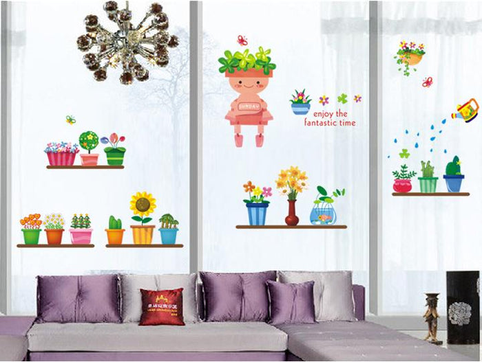 Potted Robot Flowers Wall Stickers