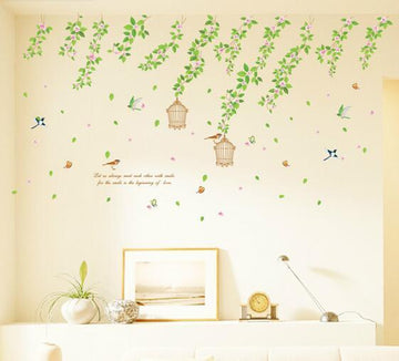 Leaves & Birdcages Bedroom Wall Stickers