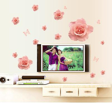 Pink Love Roses Wall Stickers