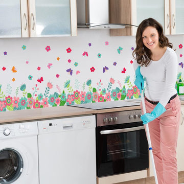 Self Adhesive Flower Fence Wall Stickers