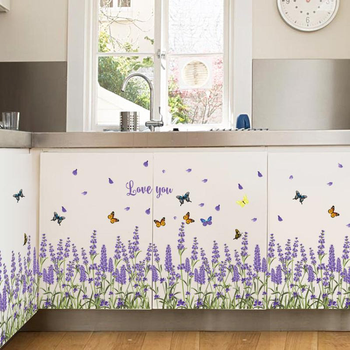 Purple Lavender Foot Line Wall Stickers