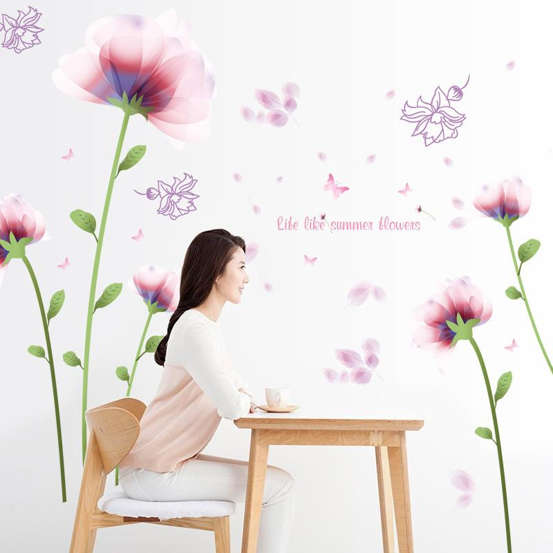 Pink Romantic Flowers Art  Wall Stickers