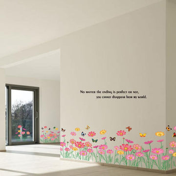 Warm Romantic Flowers Foot Line Wall Stickers