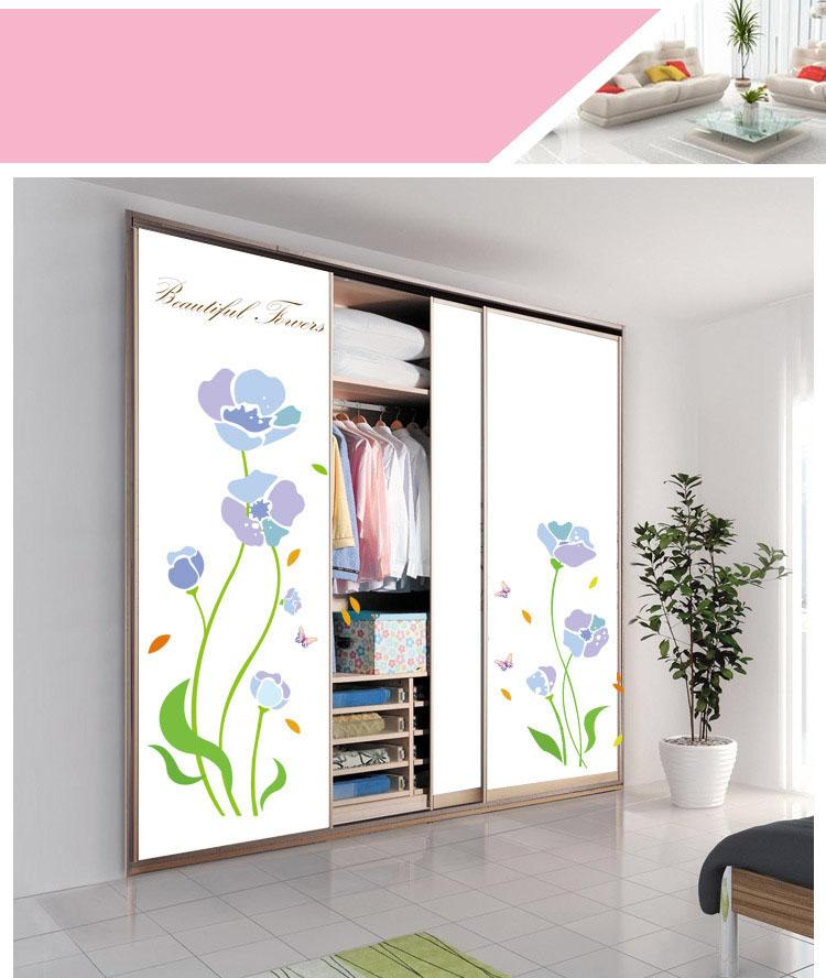 Purple Flowers Living Room Wall Stickers