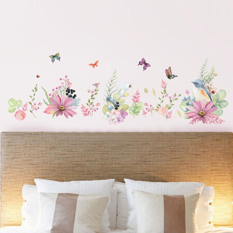 Watercolor Flowers Background Wall Stickers