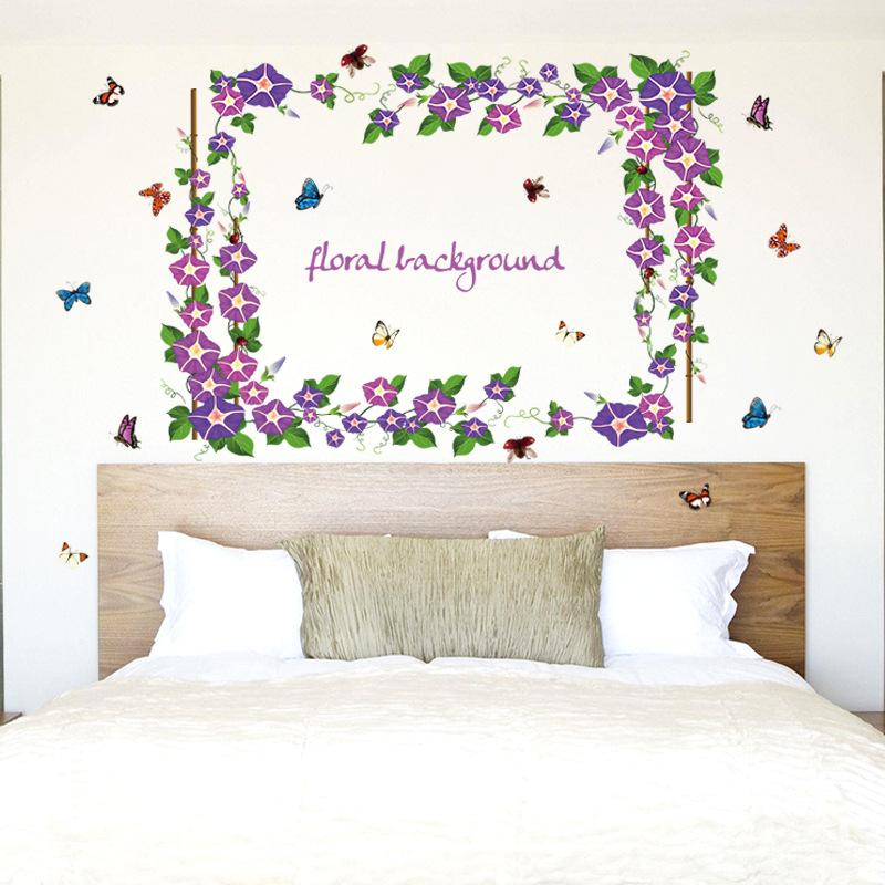 Purple Morning Glory Wall Stickers