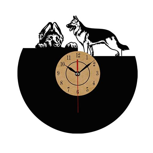 Black German Shepherd Wall Clock