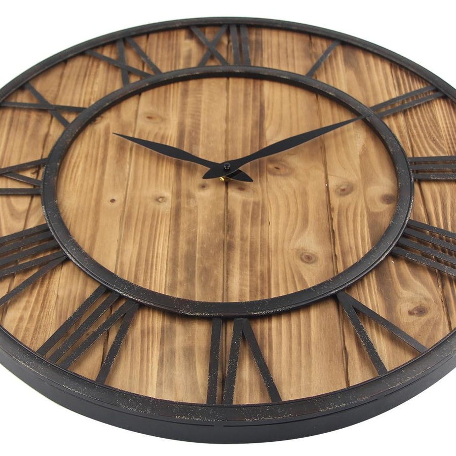 Metal Wooden Retro Style Wall Clock