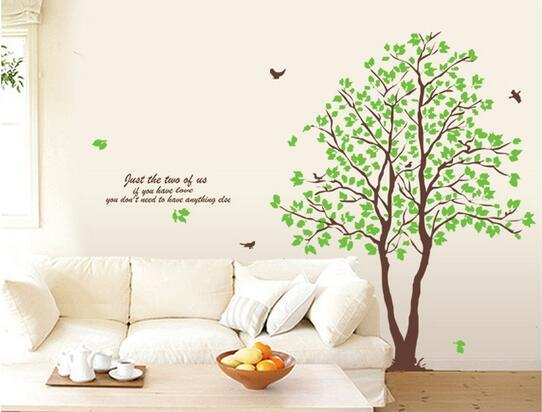 Green Trees and Birds Sitting Wall Stickers