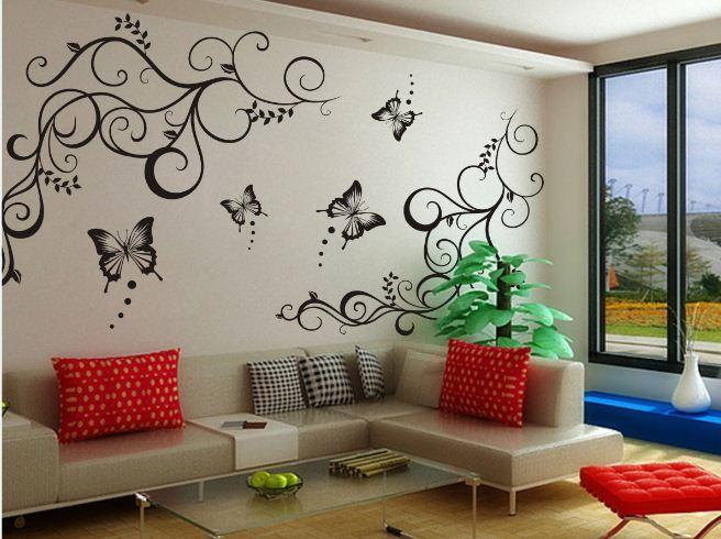 Flower Vine Butterfly Wall Stickers