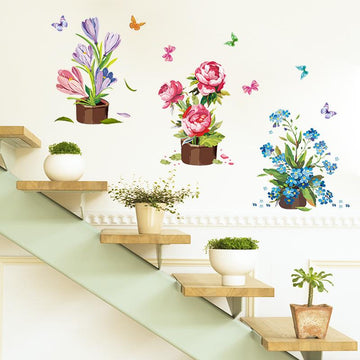 Kitchen Potted Flowers Wall Sticker