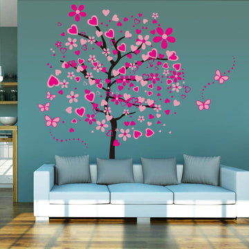 Pink Butterfly Flower Tree Wall Sticker
