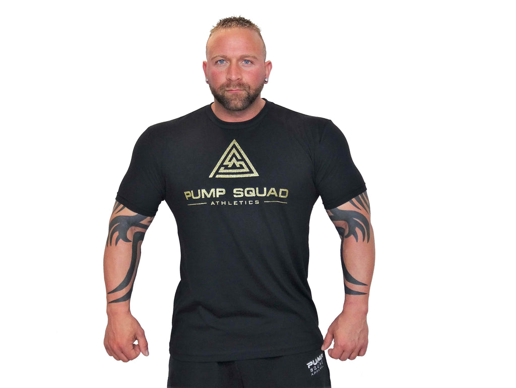 Mens Fitted Stronger Than Excuses Premium Blend T-Shirt (Shimmering Gold/Black)