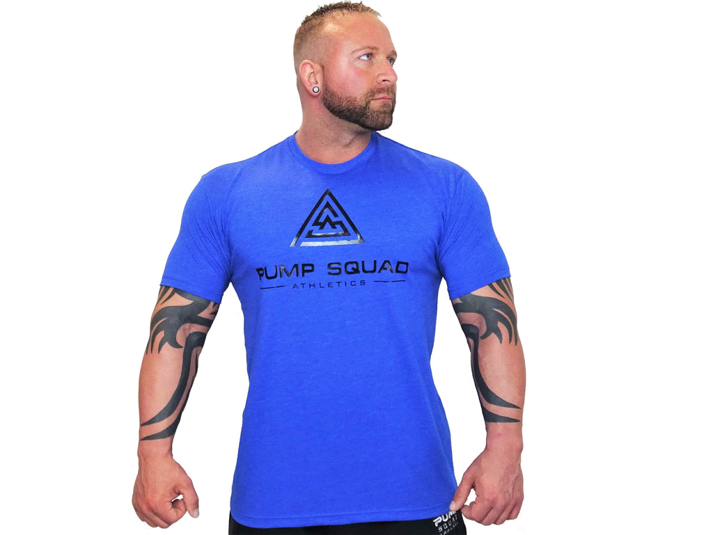 Mens Fitted Stronger Than Excuses Premium Blend T-Shirt (Royal Blue/Black)