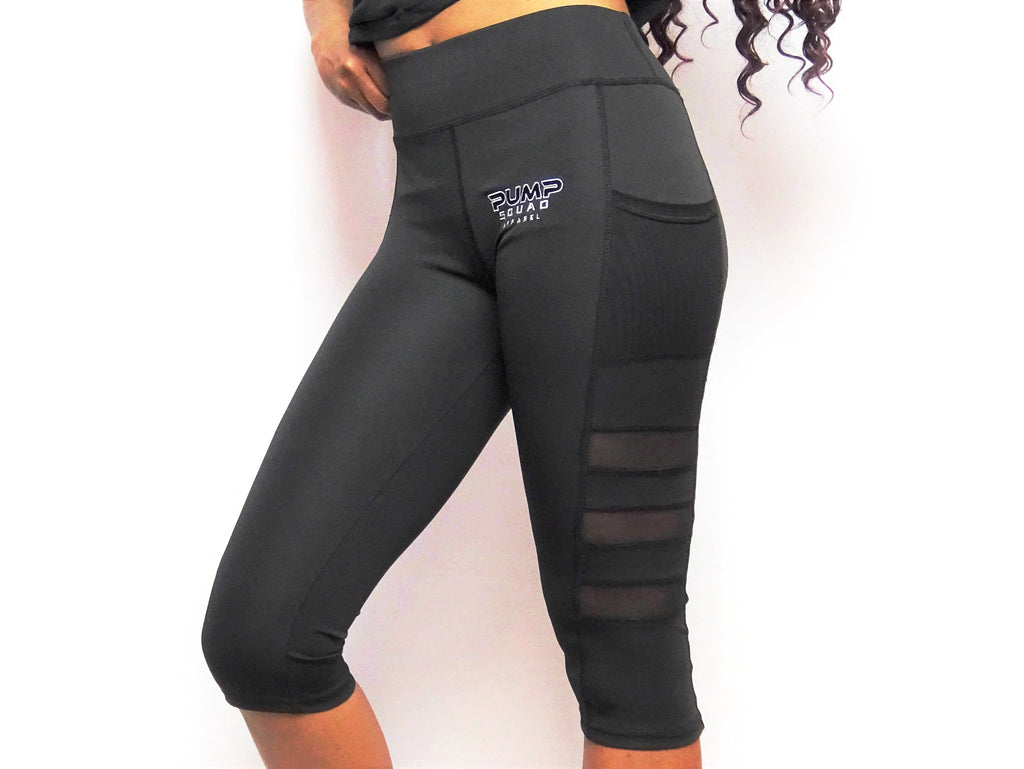 Womens Premium High Waist Sport Capris (Black)