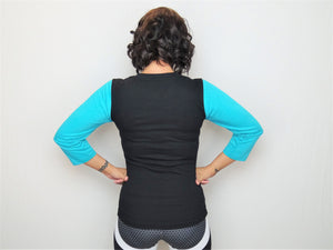 Womens Premium 2/3 Sleeve Fitted T-Shirt (Teal & Black)