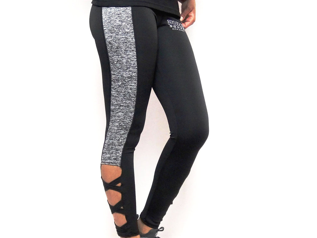 Womens Premium High Waist Performance Leggings (Black/Grey)