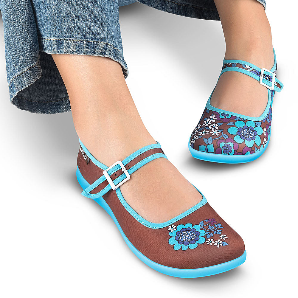 Chocolaticas® Blue Flowers Women's Mary Jane Flat Shoes